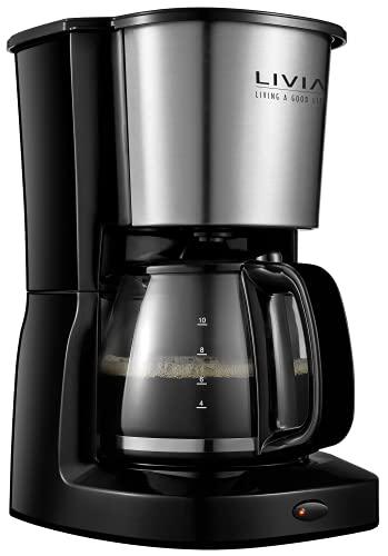 LIVIA Ekspres do kawy czarny 1,25 liter, 1000 W, ekspres przelewowy z filtrem stałym, szklany dzbanek na 10 filiżanek, automatyczne wyłączanie