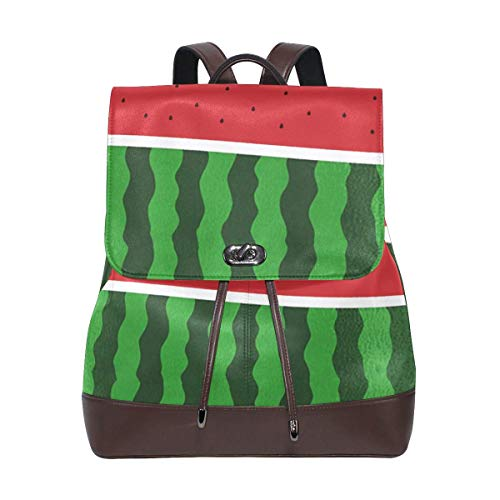 Flyup Watermelon Pattern PU leather Backpack College School Bookbag Shoulder Hiking Travel Daypack Casual Bags Mochila de cuero para mujer