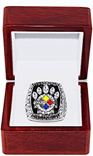 PITTSBURGH STEELERS (Kalvin Jones) 2005 SUPER BOWL XL WORLD CHAMPIONS Rare & Collectible High-Quality Replica NFL Football Silver Championship Ring with Cherrywood Display Box
