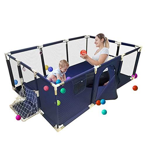 HYE-PLAYPEN Blau Baby Laufgitter Kleinkind Zaun Indoor-Spielplatz Kindersicherheitszaun Haushalt tragbaren Laufstall mit Krabbeldecke, (225x129x66cm)