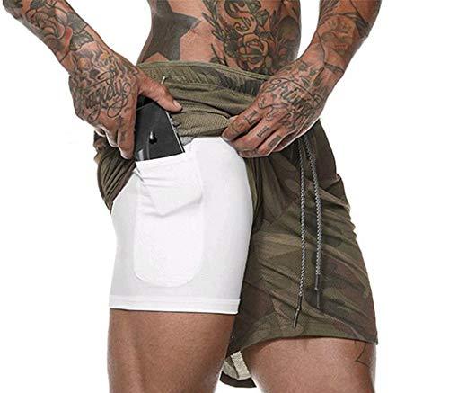 JIANYE Pantaloncini Sportivi da Uomo 2 in 1 Pantaloncini da Palestra Pantaloncini da Running Asciugatura Rapida Traspirante con Tasca Interna incorporata