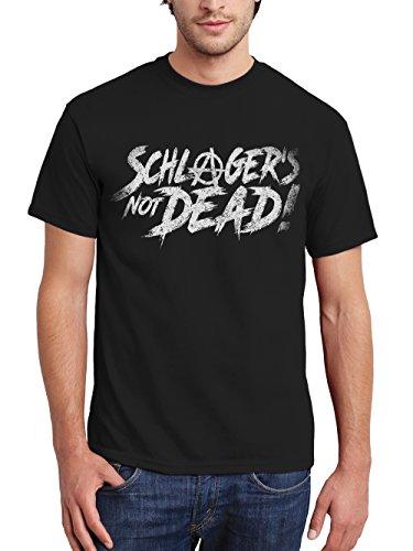 clothinx Herren T-Shirt Schlager is Not Dead Schwarz Gr. S