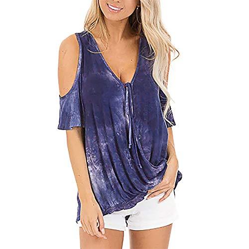 x8jdieu3 Camicia Estiva Scollo A V Temperamento Pendolare Stampa Stampa E Tintura Tie-Dye Cuciture Senza Spalline T-Shirt A Maniche Corte Top Femminile