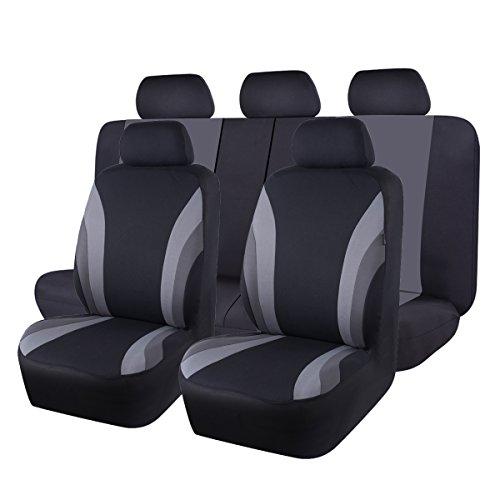 CAR PASS 11 funda de asiento de coche de ajuste universal, 100% transpirable con esponja compuesta de 5 mm en el interior, compatible con airbag (negro y gris) por CAR PASS