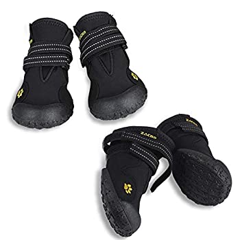 Zacro 4Pcs Bottes Chien, Chien Chaussures étanches Respirantes Antidérapant pour Taille Moyenne et Grande Chien Plusieurs Tailles Noir 5#
