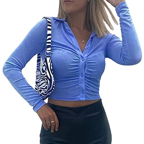 Geagodelia Camisa ajustada para mujer, de manga larga, con cuello en V, diseño plisado, a la moda, color liso, turquesa, L