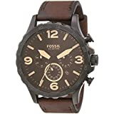 Fossil Men's Nate Quartz Leather Chronograph Watch, Color: Black, Brown (Model: JR1487)