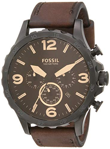 Fossil Men's Nate Quartz Leather Chronograph Watch, Color: Black, Brown (Model: JR1487)