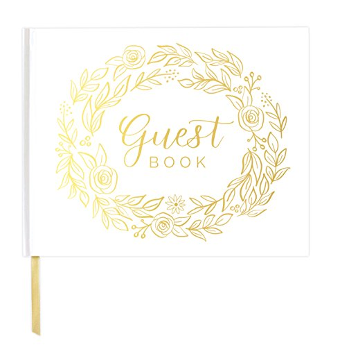 "bloom daily planners Wedding Guest Book (120 Pages) Guest Sign-in Book Guest Registry Guestbook Planner - White Cover with Gold Foil, Gilded Edges and Gold Page Marker Hardbound 7"" x 9"" - Floral"