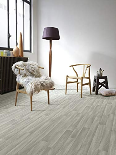 PVC Bodenbelag in grauem Holzton-Design (8,95€/m²), Zuschnitt (2m breit, 3,5m lang)