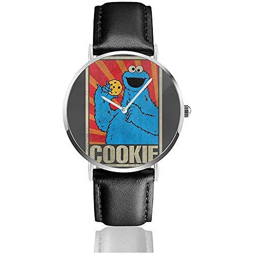 Unisex SES-AME Street Cookie Monster Sowjetische Uhren Quarzlederuhr mit schwarzem Lederband