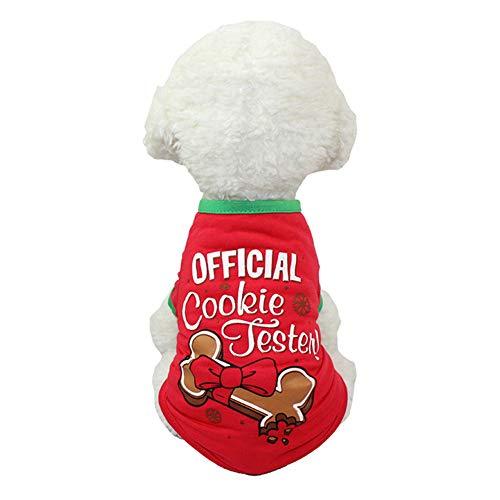 Emorias 1 Pcs Jerséis para Perros Navidad Lindo Otoño Ropa de Mascotas Pequeños Pullovers Gato Caliente Sudadera Cachorros - Rojo A S