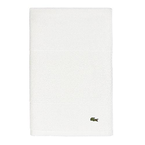 "Lacoste Legend Towel, 100% Supima Cotton Loops, 650 GSM, 35""x70"" Bath Sheet, White"
