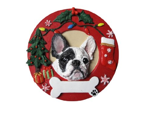 French Bulldog Christmas Ornament Black and White Wreath Shaped Easily Personalized Holiday Decoration Unique French Bulldog Lover Gifts