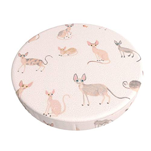 Round Bar Stools Cover,Sphynx-Katzen,Stretch Chair Seat Bar Stool Cover Seat Cushion Slipcovers Chair Cushion Cover Round Lift Chair Stool