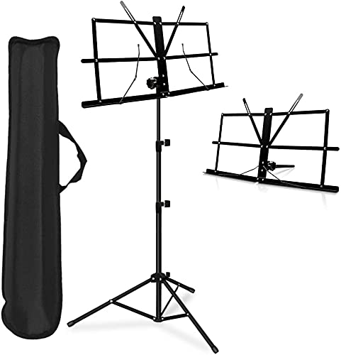 TECHBLAZE Folding Sheet Music Stand Music Note Lyrics Book Stand Portable Strong Body Notation Stand with Music Sheet Clip Holder & Carrying Bag