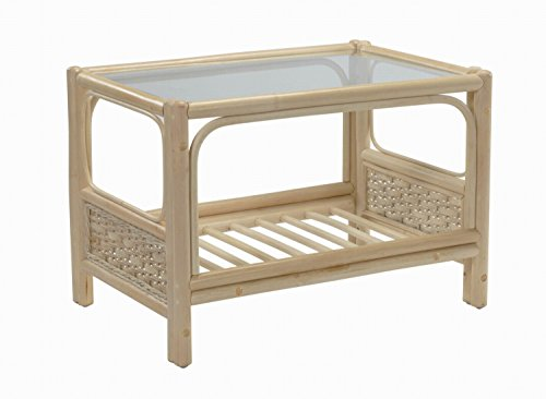 Desser Chelsea Coffee Table with Storage Shelf – Glass Top Table with Natural Wicker Rattan Cane Frame Indoor Conservatory or Living Room Furniture - H49cm x W68cm x D53cm