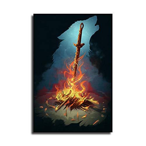 Dark Souls Bonfire Poster d'art sur toile et décoration murale moderne pour chambre à coucher