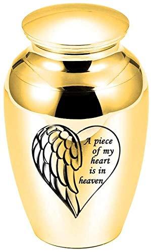 Urnas de cremación para perros Ala de ángel Grabado en forma de corazón Urnas de cenizas de cremación pequeñas Urnas de aleación de aluminio Ataúd funerario Memorial Angel Keepsake-Gold_45x70mm