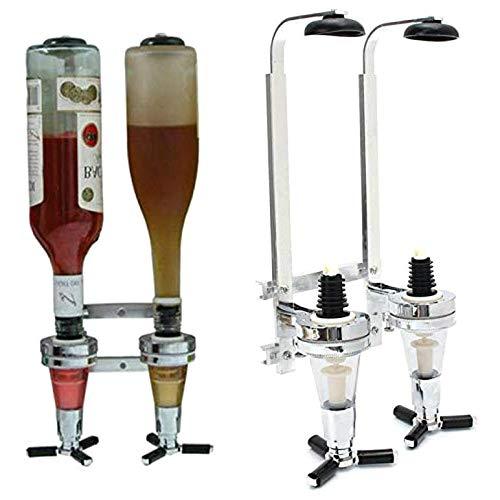 Wuyee 2 Botellas dispensador Pourer Estante del Vino Shot Alcohol Licor Bebidas montado en la Pared del Estante vertedor