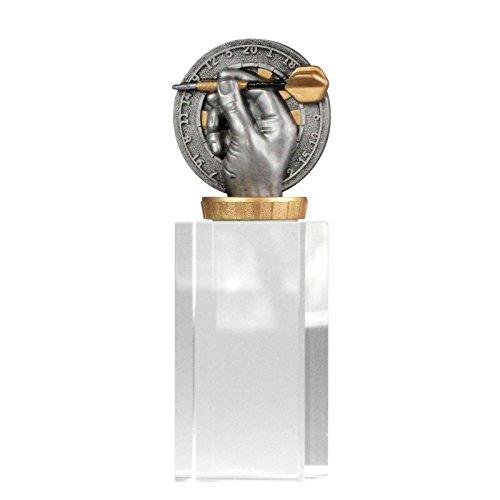 pokalspezialist Pokal, Trophäe Dart/Darts mit Glassockel 18cm hoch Größe L
