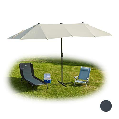 Relaxdays Ombrellone Doppio, Parasole Ovale, per Giardino & Terrazza, con Manovella & Supporto, HLP 255x450x260cm, Beige