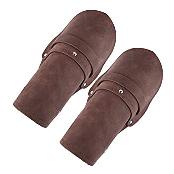 HZMAN Leather Gauntlet Wristband Medieval Bracers Wrist Band Wide Bracer Arm Armor Cuff 2 Pcs  Brown