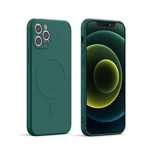 XZC - Funda de silicona líquida (protección completa a prueba de golpes, con imanes integrados, compatible con cargador magnético inalámbrico inalámbrico(verde profundo, para iPhone 12 Pro Max)
