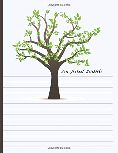 Tree Journals Notebook: Dual Design Half Wide Ruled and Half Blank on the same page for Creative Sketchbook Drawing or Doodling & Writing Journal Notebook Organizer with Tree with Green Leaves Theme