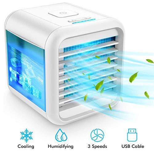 Persönlicher Luftkühler - Evaporative Luftkühler mit Eisbox, 4-In-1 Tragbarer Tischventilator mit 3 Geschwindigkeiten, Miniklimaanlage, USB-Lade, ruhig, 7-Farben-Nachtlicht
