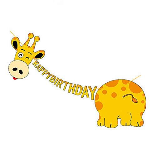 キリン ハッピーバースデー バナー キュート イエロー キリン スタイル バンティング バナー 森の動物 パーティー用品 キリンテーマ パーティーデコレーション 記念日 誕生日パーティーデコレーションの拡大画像