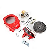 Electric Start Kit Flywheel Starter Motor Key Switch Coil Ignition Fan Cover Fit For Honda GX160 5.5HP GX200 6.5HP (For Honda GX160 GX200)
