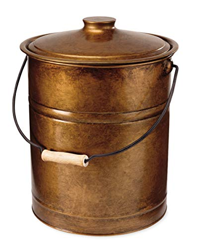 """Plow & Hearth Deluxe Double-Bottom Metal Fireplace Ash Bucket with Lid and Handle-Galvanized Steel and Aluminum with Painted Finish-10, Copper, 10"""" Diameter x 13"""" H"""