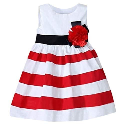 K-youth Bebé Niña Vestido, Ropa Niña Verano Vestido de Flores de Rayas Sin Mangas para niñas Ropa Bebe Recién Nacido Niña Ceremonia Vestidos para niña Verano Fiesta Bautizo