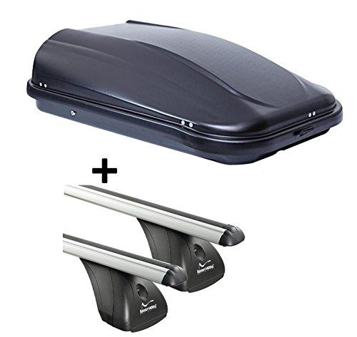 VDP Coffre de toit jupre320 320ltr Noir brillant verrouillable + barres de toit Aurilis pour Jeep Renegade (5türer en aluminium) à partir de 2014