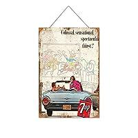 7UPソーダセクシービューティー26木製のリストプラーク木の看板ぶら下げ木製絵画パーソナライズされた広告ヴィンテージウォールサイン装飾ポスターアートサイン