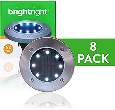 BRIGHTRIGHT - Outdoor Solar Disk Lights (8 Pack) 8 LEDs - Waterproof Landscape Lighting - Yard, Garden, Patio, Lawn, Deck, Pathway, Driveway - Dusk to Dawn - White