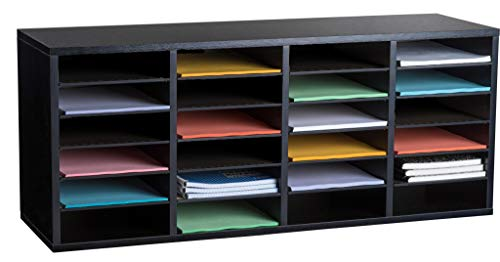AdirOffice Wooden Literature Organizer Sorter - Stackable Mail Craft Paper Storage Holder with Removable Shelves for Office, Classrooms, and Mailrooms Organization (24 Compartment, Black)