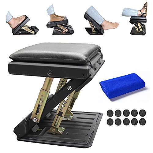Ergonomic Footrest, Adjustable Footrest Max-Load 180Lbs with Removable Soft Foot Rest Pad Under Desk Footrest for Car, Home, Train, 4-Level Height Adjustment (Black)