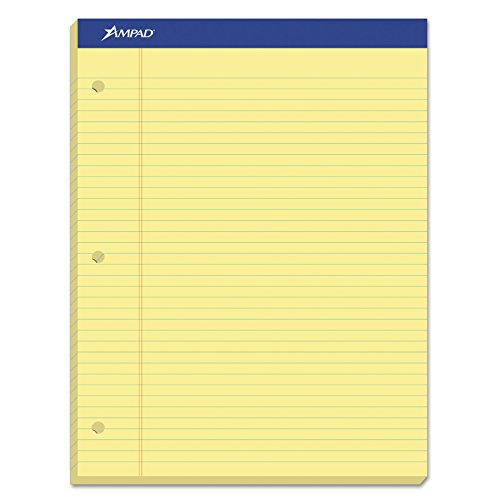 Ampad Evidence Dual Pad, Narrow/Margin Ruled, Size 8.5 x 11.75 Inches, Canary Paper, 100 Sheets Per Pad (20-246), 3 Hole Dual Pad