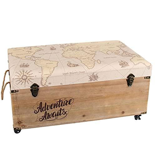 Baúl Decorativo de Madera Forrado 'Mapa del Mundo'. Cajas Multiusos. Baúles. Muebles Auxiliares. Regalos Originales. Decoración Hogar. 80 x 40 x 43 cm