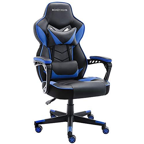 Bonzy Home Gaming Chair Office Chair High Back Computer Chair PU Leather Desk Chair PC Racing Executive Ergonomic Adjustable Swivel Task Chair with Headrest and Lumbar Support (Blue)
