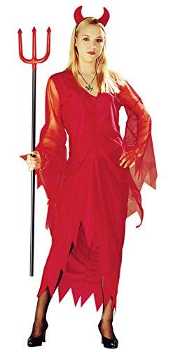 rotes Teufel Kostüm mit Teufelshörnern für Damen Fetzen Kostüme rot Halloween Teufelin Kleid Damen Fasching Karneval Größe M-L