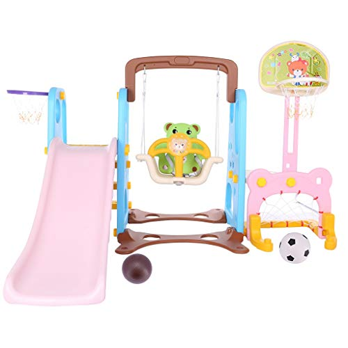 Toddler Climber and Swing Set, 5 in 1 Kids Indoor and Outdoor Slide Swing and Basketball Football Baseball Set, Easy Climb Stairs for Infant Playground Toy,Best Birthday Gift (US 3-5 Day,Multicolour)