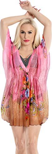 LA LEELA Damen Frauen-ups für Bademoden Kleid Kaftan Abdeckung Schwimmen Strand Rosa_Y705 DE Größe: 42 (L) - 50 (3XL)