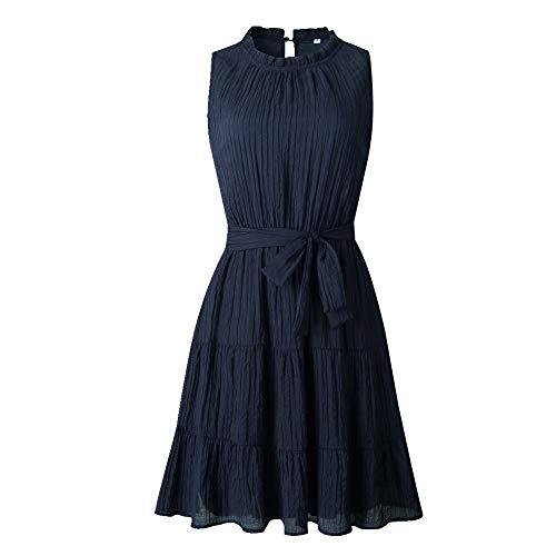 NOBRAND Vestido de verano de moda de color sólido sin mangas con cordones para mujer