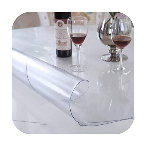 Fun-boutique Tovaglia rotonda in PVC, trasparente, impermeabile all'olio, impermeabile, di alta qualità, timbro in vetro morbido 1,0 mm, tovaglia da ristorante, Frosting, 115cmRound diameter