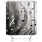 Shocur Moderner Duschvorhang, schwarz & weiß Musik-Symbole, 183,9 x 183,9 cm, modisches Thema, Badvorhang, Polyester-Stoff, Badezimmer-Dekor-Set mit 12 Haken