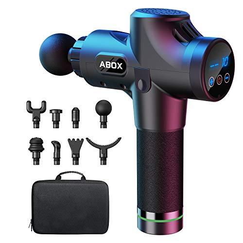 ABOX Pistolet de Massage Musculaire, Masseur de Muscle Profonds avec 30 Niveaux Réglables, 8 Têtes de Massage et Ecran LCD, Ultra Silencieux pour Récupération de Fatigue et de Détente - Upgraded