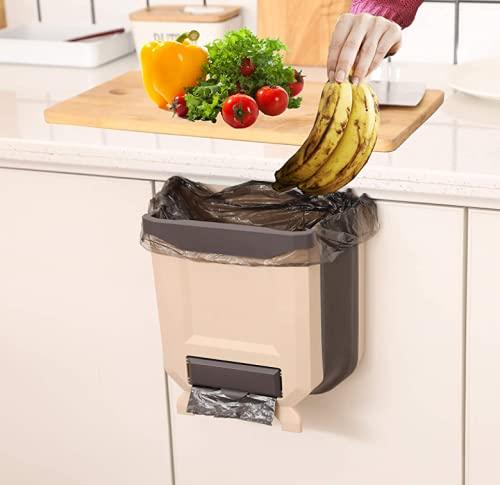 NC - Papelera plegable para colgar en la cocina, de 2,4 galones, de plástico de 10 litros y plegable, ideal para armario, dormitorio, baño, oficina